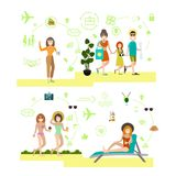 Beach holidays vector illustration in flat style Royalty Free Stock Photo