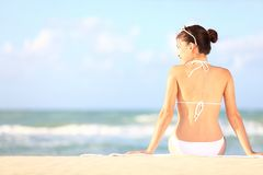 Beach holidays woman Stock Photo