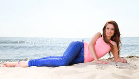 Beach holidays woman enjoying summer sun sand looking happy Royalty Free Stock Photos