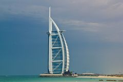 Beach hotel. Burj Al Arab, Dubai. Consistently voted the world's most luxurious hotel Royalty Free Stock Photography