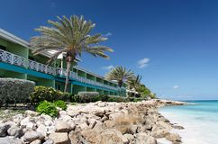 Beach Hotel. Hotel on a beautiful white caribbean beach Royalty Free Stock Image