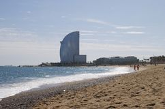 Beach and hotel at Barcelona. Spain Royalty Free Stock Photo