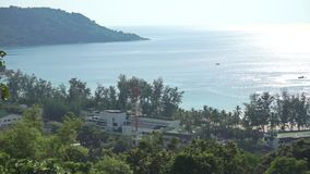 Beach hotel and distant boats in the sea. Phuket, Thailand stock video footage