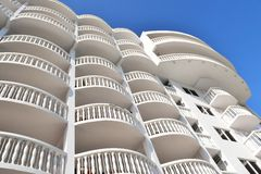 Beach hotel in Florida with Tropical setting. Hotel in Florida Architecture showing a beach hotel with balconies in tropical surrounding with the beach, Atlantic Stock Photography