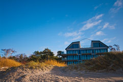 Beach hotel or house. Luxurious house or hotel on beach, Baltic shore on autumn day, Poland Stock Photo
