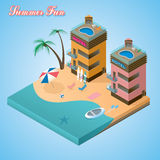 Beach hotel isometric Royalty Free Stock Photo