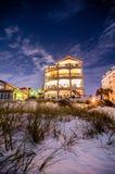 Beach hotel at night Stock Photo
