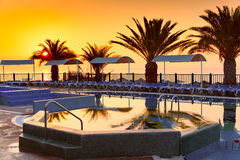 Beach hotel resort with pool. At dawn Royalty Free Stock Images