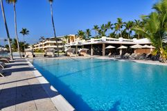 Beach Hotel Resort Swimming Pool. Surrounded by palm trees Royalty Free Stock Image