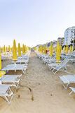 Beach with hotels in Lido di Jesolo, Veneto,Italy Royalty Free Stock Images