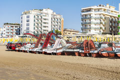 Beach with hotels in Lido di Jesolo, Veneto,Italy Royalty Free Stock Photos