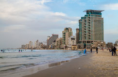 Beach and hotels in the winter evening, Tel Aviv Stock Photography