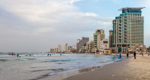 Beach and hotels in the winter evening, Tel Aviv Stock Image