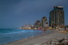 Beach and hotels in the winter evening, Tel Aviv Royalty Free Stock Images