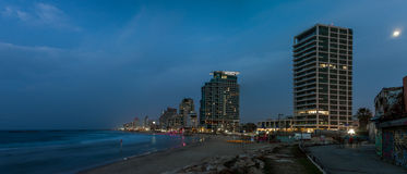 Beach and hotels in the winter evening, Tel Aviv Royalty Free Stock Photography