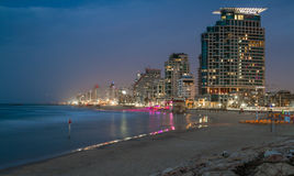 Beach and hotels in the winter evening, Tel Aviv Royalty Free Stock Image