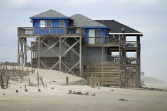 Beach House. A beach house located on the Otter Bank of No Carolina was built on the sands of the beach, isolated, the sun beats down but the winds blow all the Royalty Free Stock Images