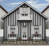 Beach House. Near Aveiro, Portugal, this house represents the architecture of this beach Stock Photo