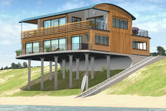 Beach House. 3D render of a beach house design Royalty Free Stock Images