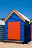 Beach house. Brightly coloured beach hut on Brighton Beach in Melbourne, Australia royalty free stock photo