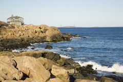 Beach house. House by the shore in Rockport, MA Stock Image