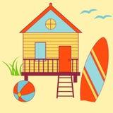 Beach House. Summer icons - beach house, surf board, ball Stock Photo