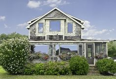 Beach House with flower boxes Stock Photography