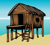 Beach house graphic. Beach house on stilts graphic illustration Royalty Free Stock Images