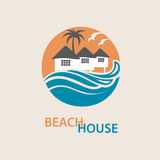 Beach house logo. Seaside beach logo with houses and palms Royalty Free Stock Photos