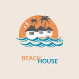 Beach house logo. Seaside beach logo with houses and palms Stock Image