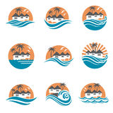 Beach house logo set Royalty Free Stock Photos