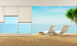 Beach house. Modern living room of a house by the sea - 3D Rendering Stock Image