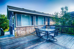 Beach house porch at sunrise Royalty Free Stock Image