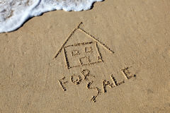 Beach House for Sale. Beach House Concept. Motion Blurr on incoming wave Stock Photos