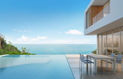 Beach house with sea view in modern design Stock Photography