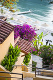 Beach house stairs with terrace garden, looking towards the beach umbrellas and loungers Royalty Free Stock Images