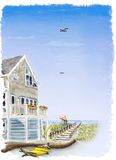 Beach house in summer stock illustration
