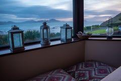 Beach house window stock photo
