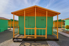 Beach house yellow and green. Beach houses, yellow and green at the seaside Stock Image