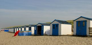 Beach houses. Row of beach houses on North sea beach Royalty Free Stock Photo