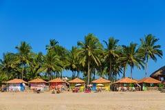 Beach houses. Colorful beach-houses on the beach, GOA, India royalty free stock photography