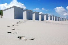 Beach houses. White beach-houses on the beach Royalty Free Stock Images