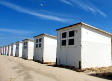 Beach houses. Wooden beach houses on the beach of Holland Royalty Free Stock Photography