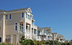 Beach Houses. A row of luxury beach houses in the outerbanks of North Carolina Royalty Free Stock Photo