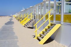 Beach cottages sea, Netherlands Stock Images