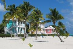 Beach houses. Colorful beach houses on the tropical Caribbean island of Little Cayman Stock Photo