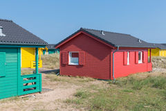 Beach houses at Dune, German island near Helgoland. Colorful beach houses at Dune, German island near Helgoland royalty free stock image
