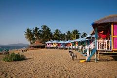 Beach houses in GOA. Colorful indian houses on the beach, GOA, Agonda Beach, India royalty free stock photography