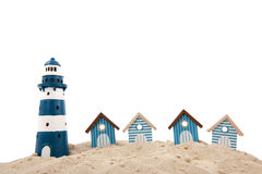 Beach houses and lighthouse Stock Photography