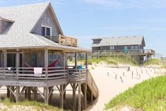Beach Houses  2. Oceanside beach rentals Outer Banks of North Carolina Stock Photography